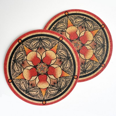 Two Red & Black Butterfly Round Placemats