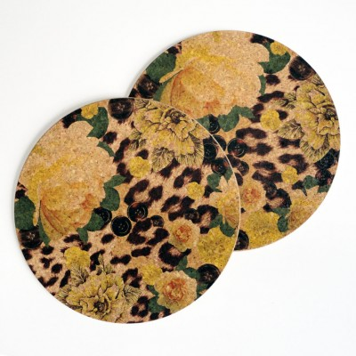 Two Yellow Rose & Skin Print Round Placemats