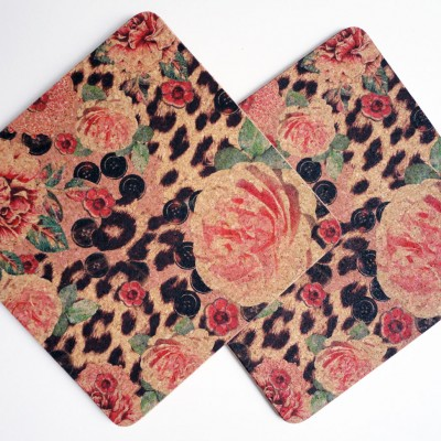 Two Pink Rose & Skin Square Placemats