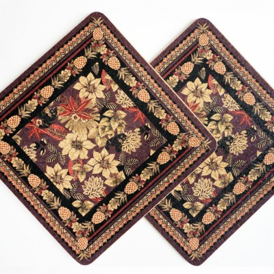 Two Patterned Panther Square Placemats