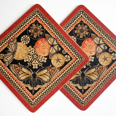 Two Red & Black Butterfly Square Placemats