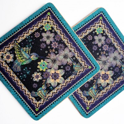 Two Charm Of Hummingbirds Square Placemats