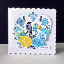 Blue and Yellow Rose Birthday Card