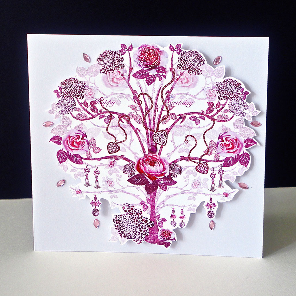 Rose Pink Jewelled Tree Greeting Card