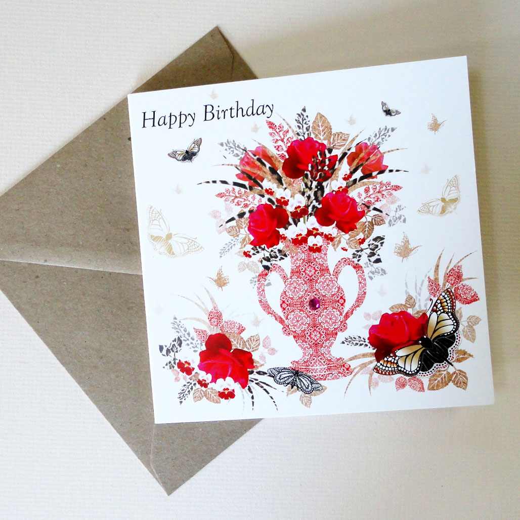 Red Vase with roses and Butterflies Anniversary Card - With Envelope
