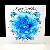 Blue Carnation Happy Birthday Card