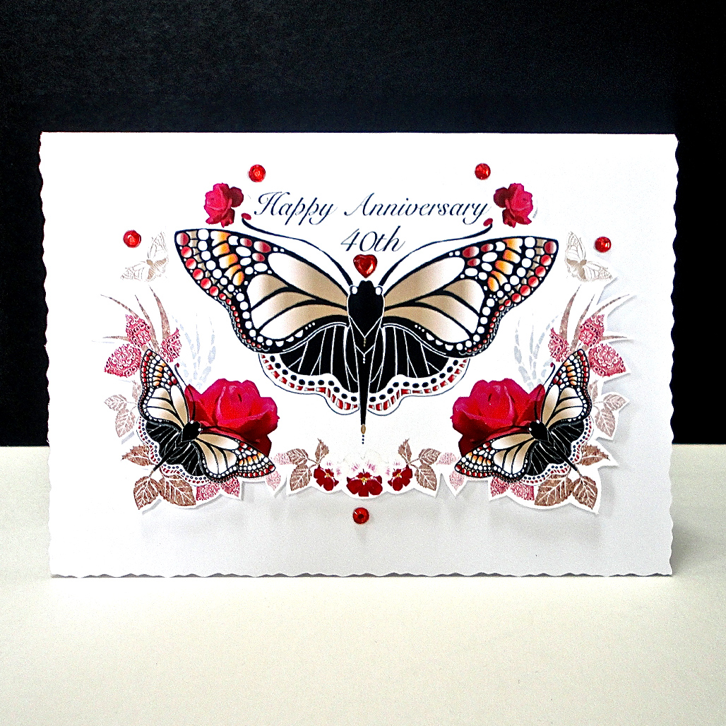 Red Rose and Butterfly Ruby Wedding Card | Decorque Cards