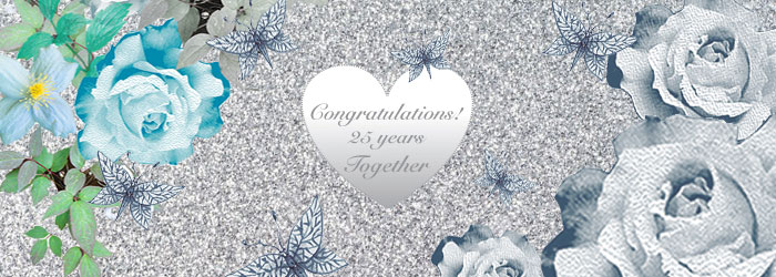 Beautiful Handmade Silver Anniversary Card