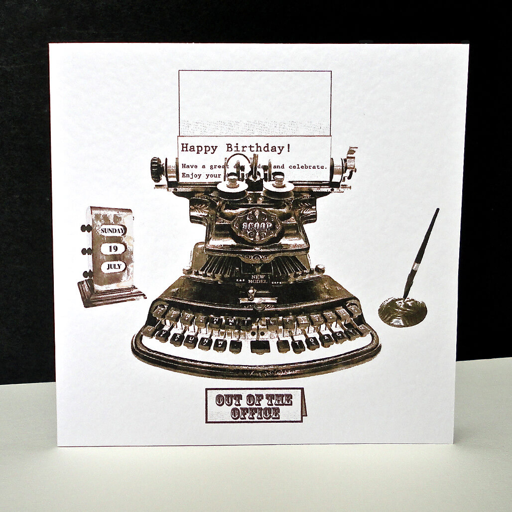 Antique Typewriter Happy Birthday Card