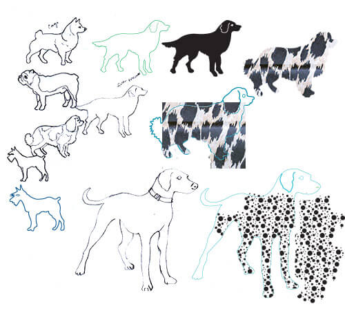 Drawn and patterned dogs