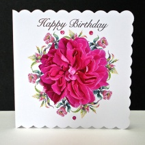 Happy Birthday Cerise Rose Card