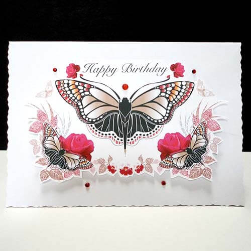 This Beautiful Butterfly Surrounded By Red Roses And Textured Leaves Is A Gorgeous Card I Designed With Special Birthdays Anniversaries In Mind Think