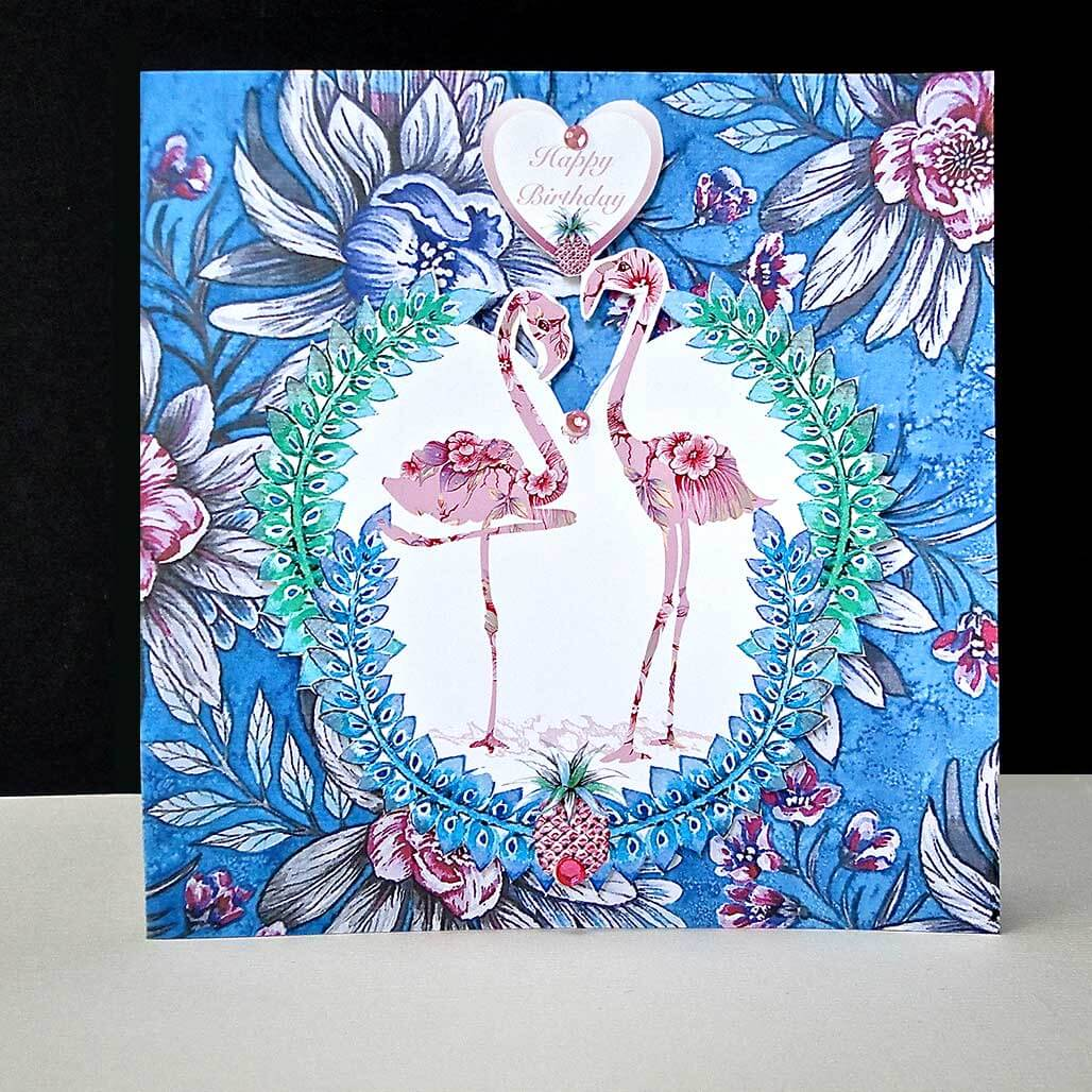 Antique Floral Flamingo - Happy Birthday