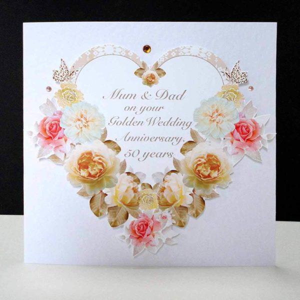 Antique Rose Heart- Handmade Golden Wedding Anniversary Card- Mum & Dad.
