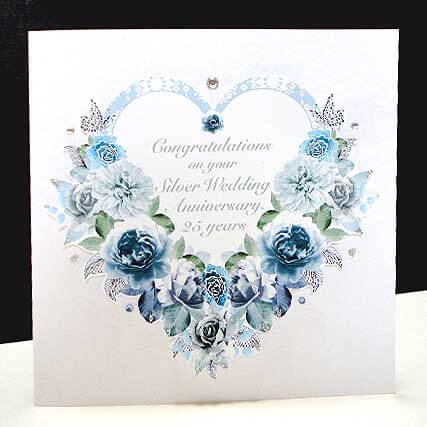 Antique Rose Heart - Handmade Silver Wedding Anniversary Card.