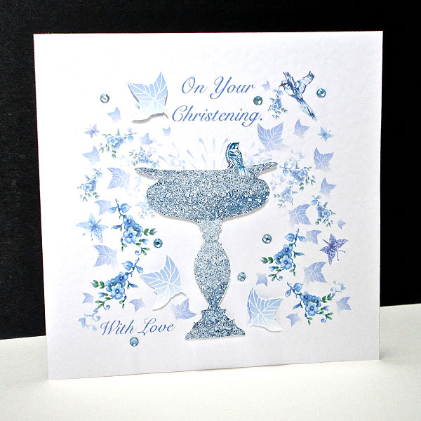 Blue Bird and Font Christening Card