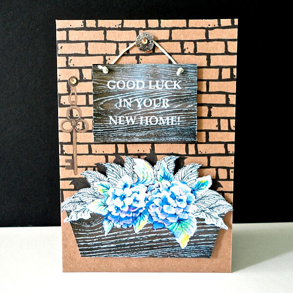 Blue Floral Window Box New Home Card