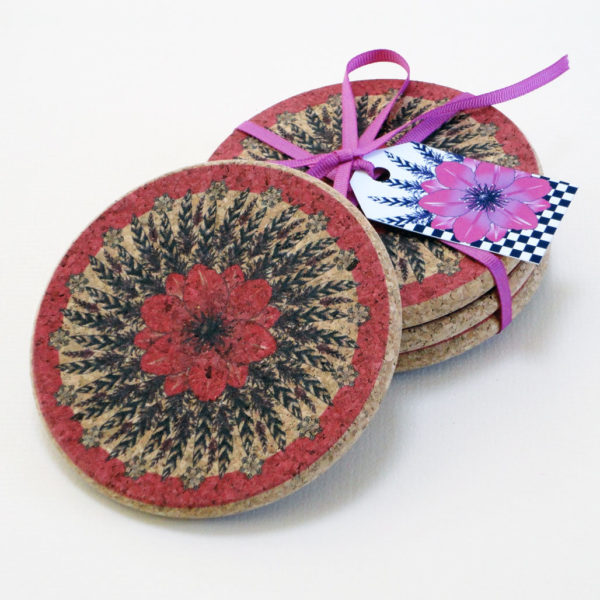 Four Pink Flower and Feather Cork Round Coasters