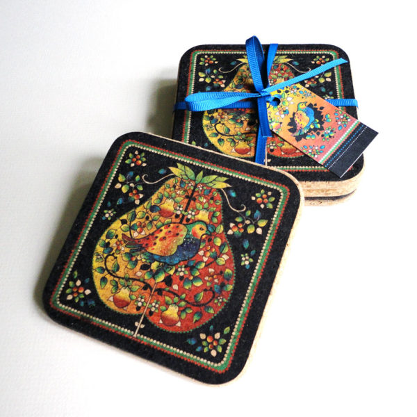 Four Christmas Partridge in a Pear Tree Square Coasters