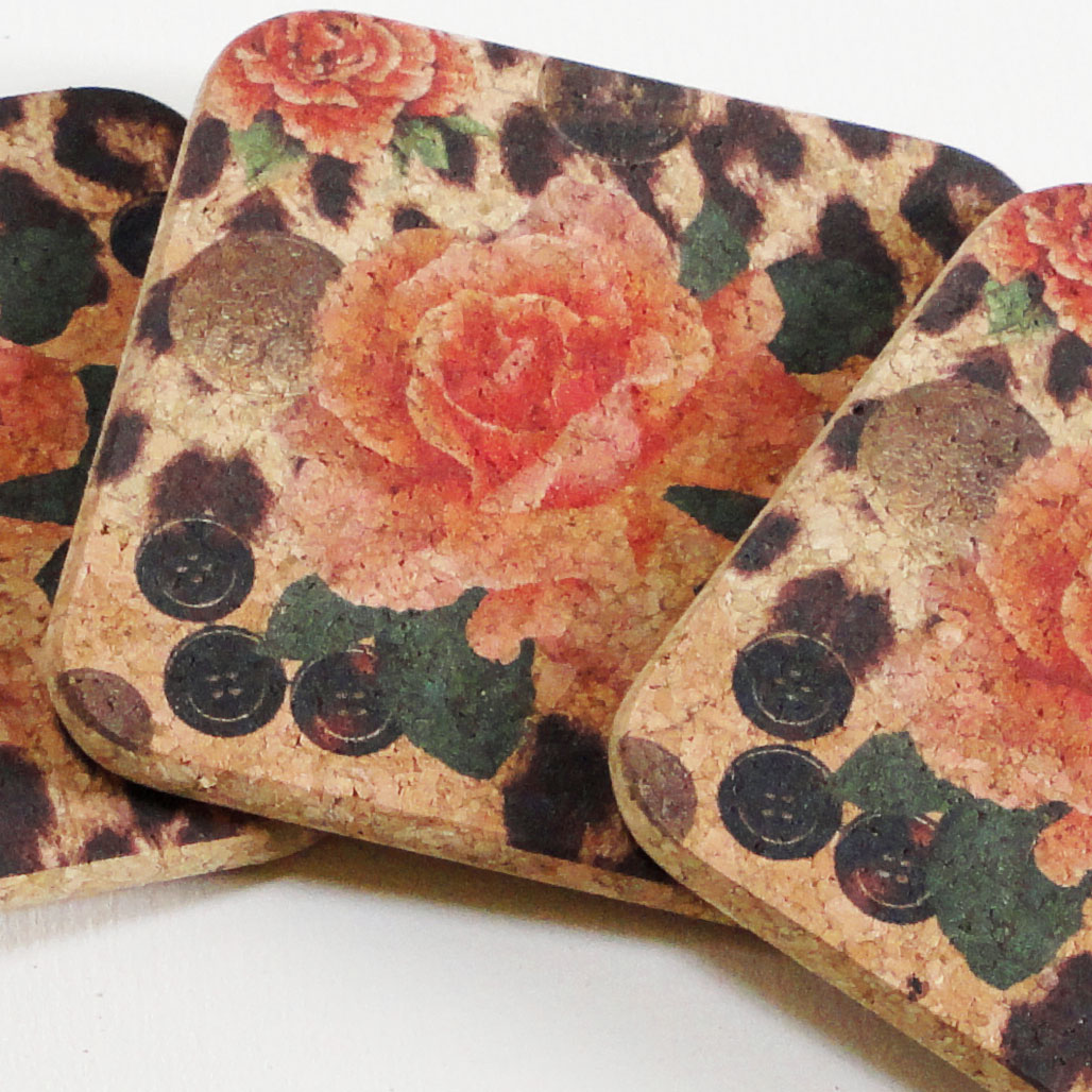 Four Orange Rose And Skin Print Square Coasters