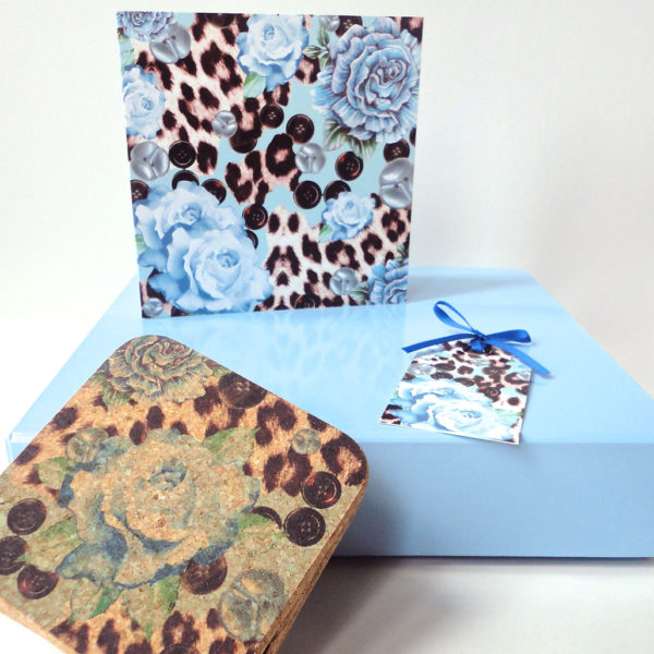 Blue Rose Cork Coaster Gift Set