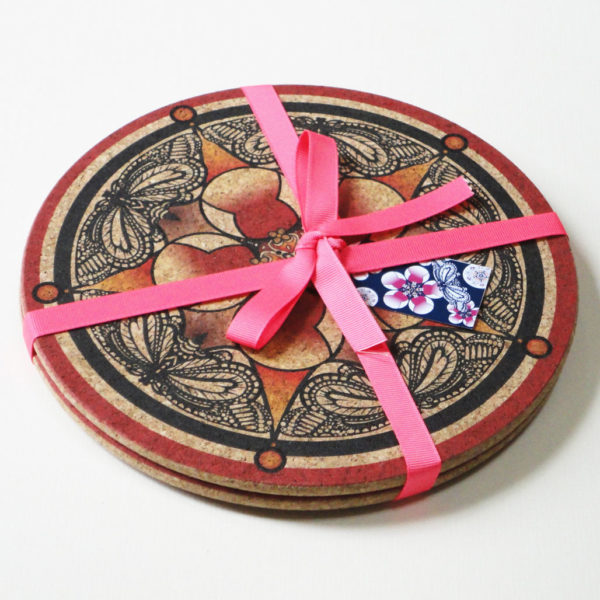 Two Red Flower & Butterfly Round Cork Placemats