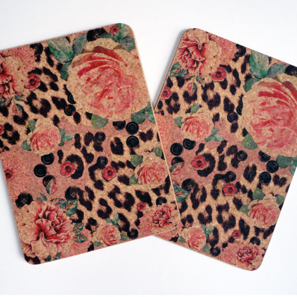 Two Pink Rose & Skin Rectangular Cork Placemats