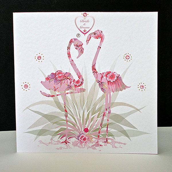 Pink Fantasy Flamingo-Bride & Groom Wedding Card