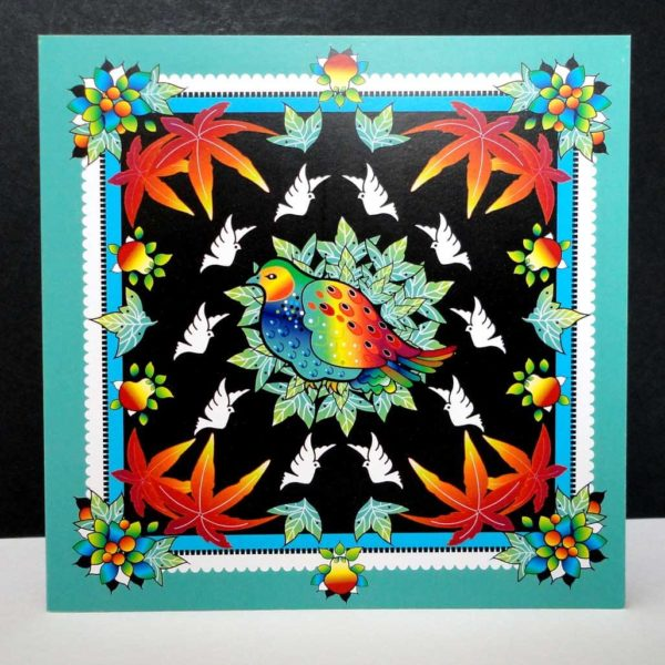 Turquoise Festive Partridge Christmas Card