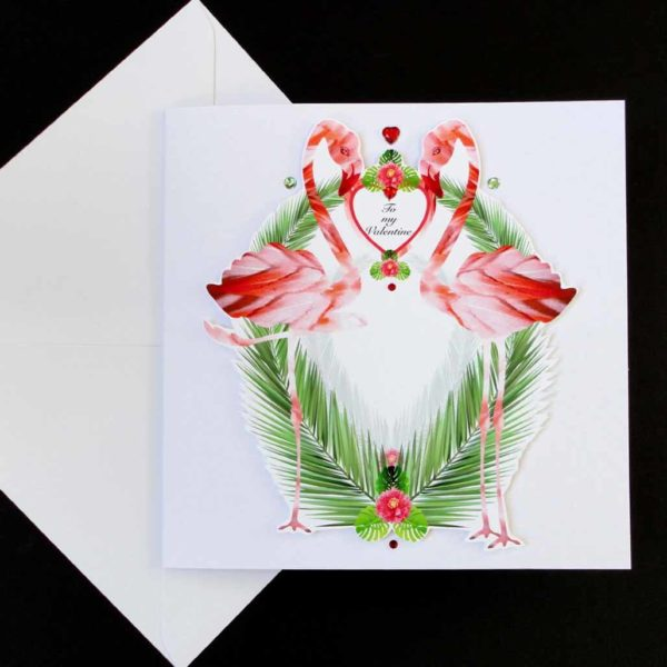 Valentine Tropical Flamingo and Palm Handmade Card