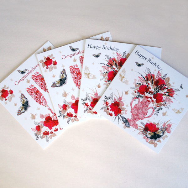Decorque Red Rose Display - Greeting Cards