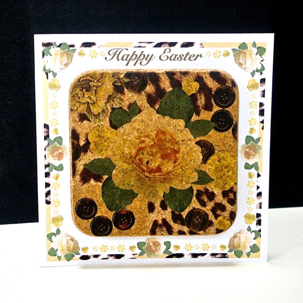Yellow Rose & Skin Easter Coaster Card