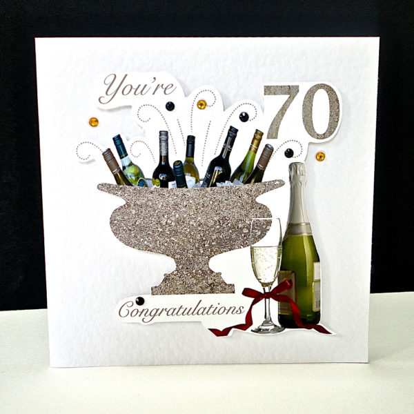 Celebration Bottles 70th Birthday Card