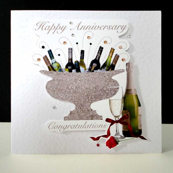 Celebration Bottles Wedding Anniversary Card.