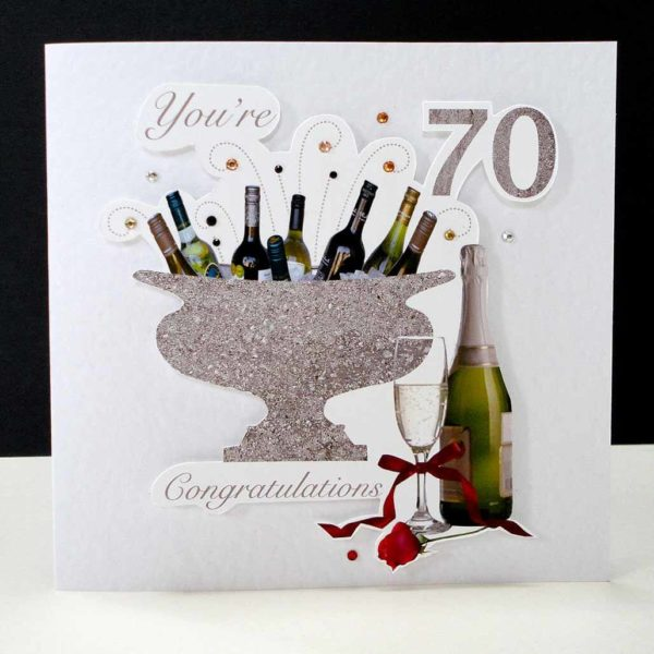 Celebration Bottles & Red Rose 70th Birthday Card