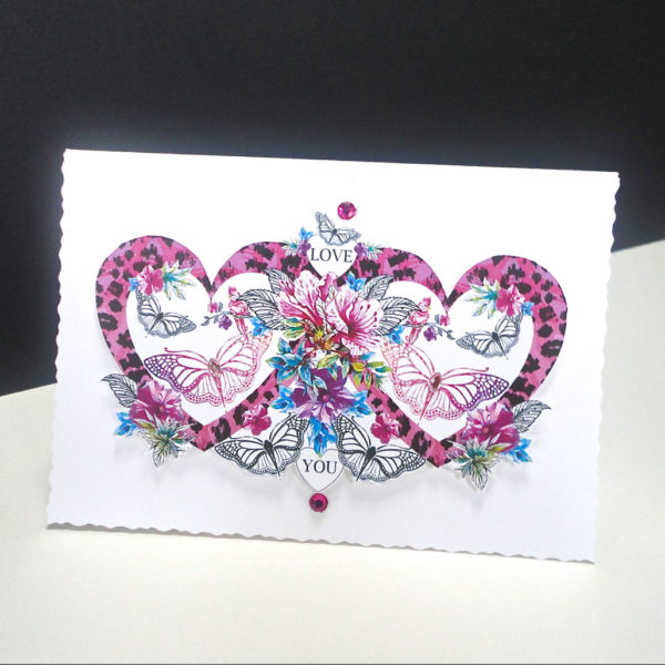 Valentine Pink Heart and Butterfly Handmade Card