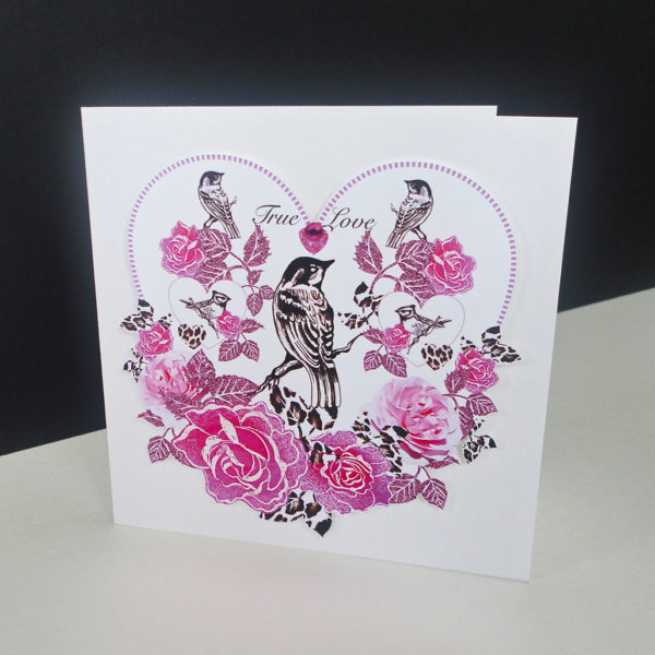 Valentine Pink Rose & Bird Handmade Card