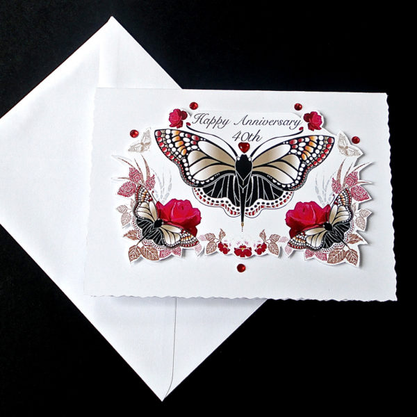 Red Rose and Butterfly Ruby Wedding Card