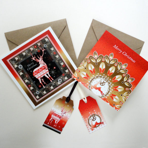 Christmas Reindeer Display - Greeting Cards and Tags