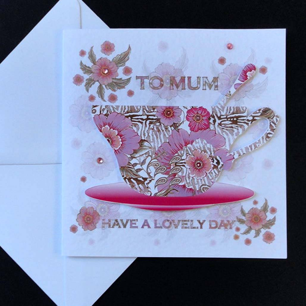 Happy Birthday Mum Floral Teacup Card