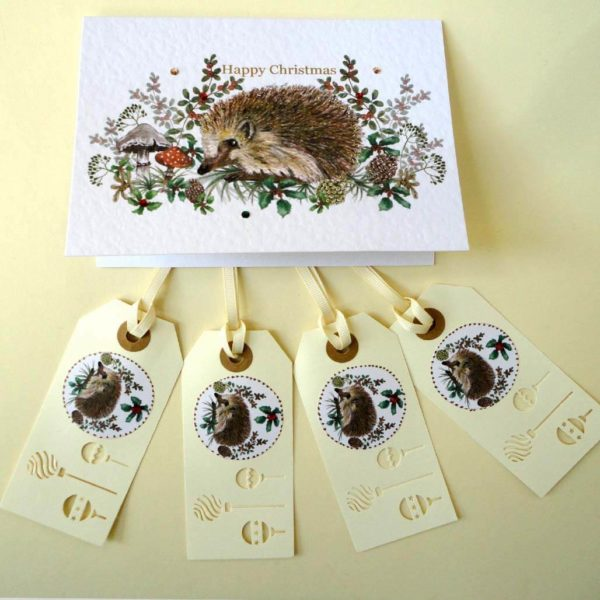 Hedgehog Christmas Tags