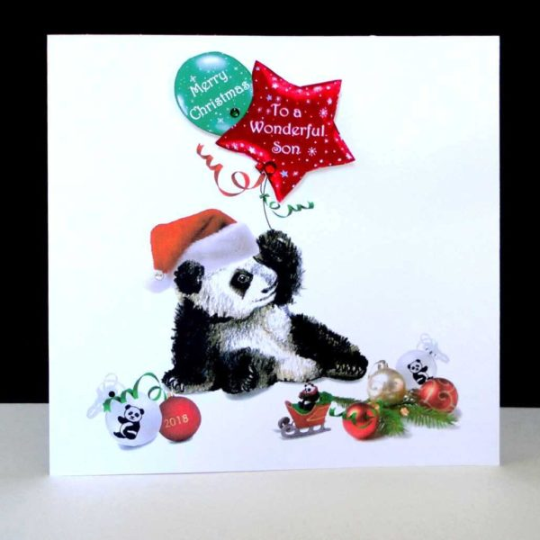 Panda Merry Christmas Son Handmade Card