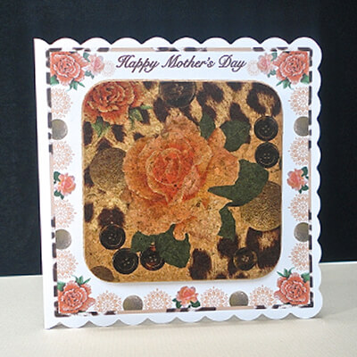 Orange Rose & Skin Print Mother's Day Card