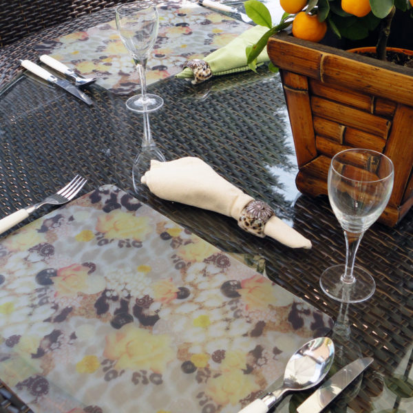 Two Soft Skin Blush Plastic Placemats