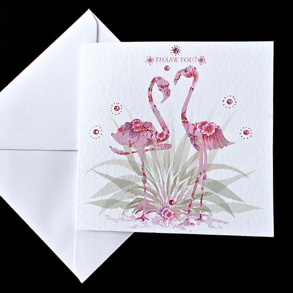 Pink Fantasy Flamingo - Handmade Thank You Card