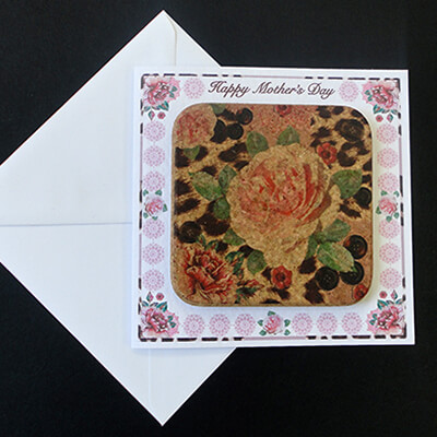Pink Rose & Skin Print Cork Coaster Mother's Day Card.