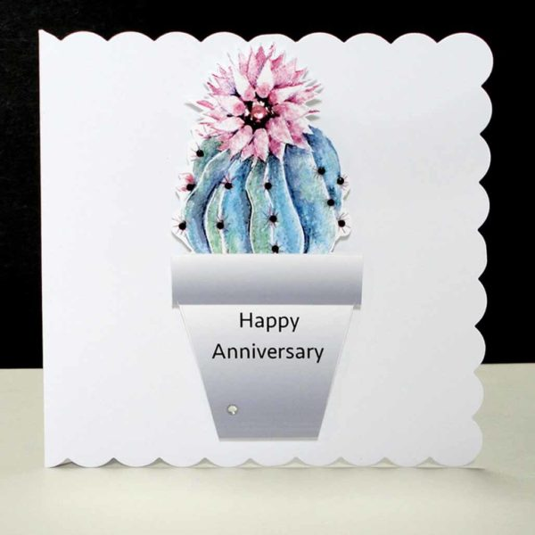 Rosy Pincushion Cactus Anniversary Card